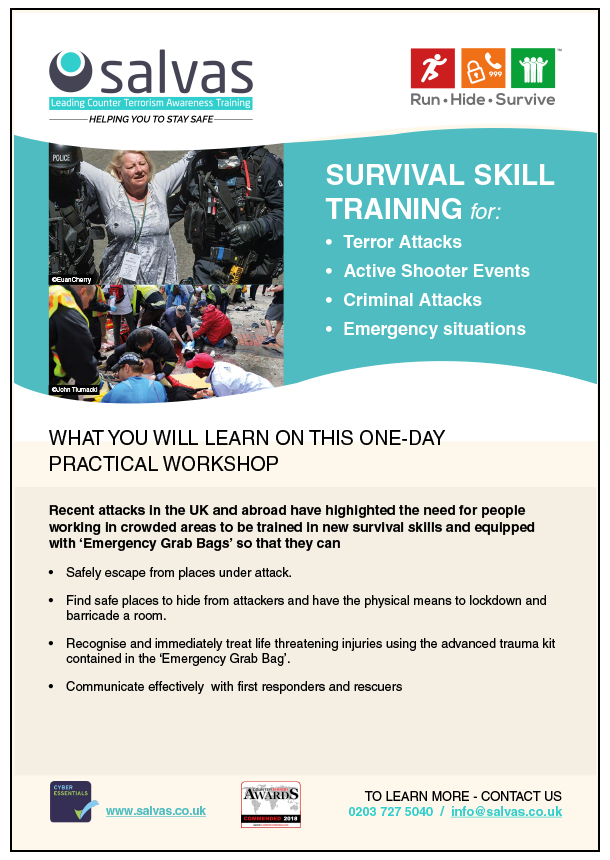 A5 PDF DESCRIBING THE RUNHIDESURVIVE TRAINING PROGRAMME | E-LEARNING \ EMERGENCY GRAB BAGS
